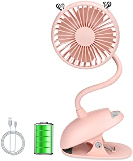 Zonsk Portable Clip Fan, Cute Fawn Flexible Neck USB Fan, Battery Operated Electric Fan, Portable Desk Fan for Stroller, Desktop, Home, Office, Outdoor, Indoor (Pink)