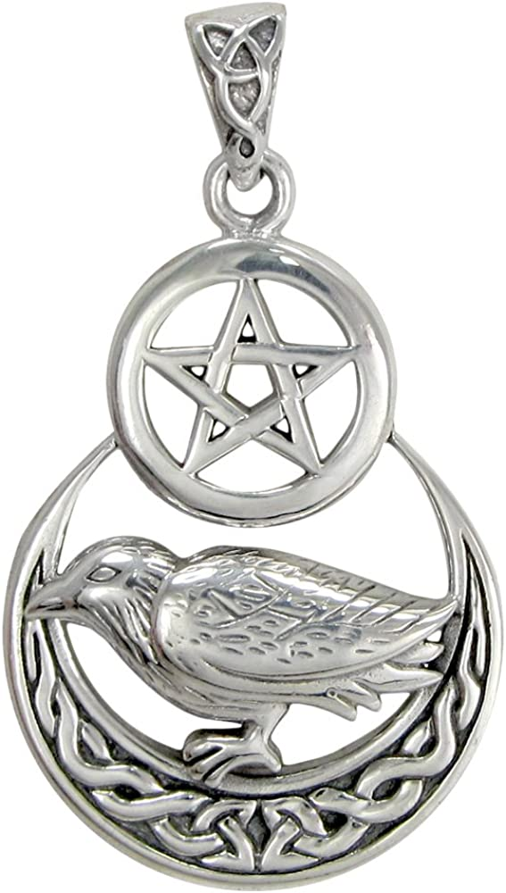 Sale price Sterling Silver quality assurance Raven Crescent Pentacle Pendant Moon