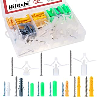Assorted Plastic Wall Anchor Plugs and Steel Screws Kit 62pcs Pack in Box