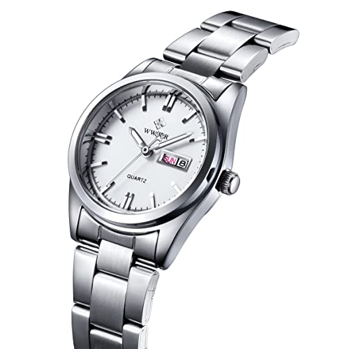 WWOOR Women Fashion Pink Dial Stainless Steel Strap Watch Casual Business Waterproof Quartz Watches