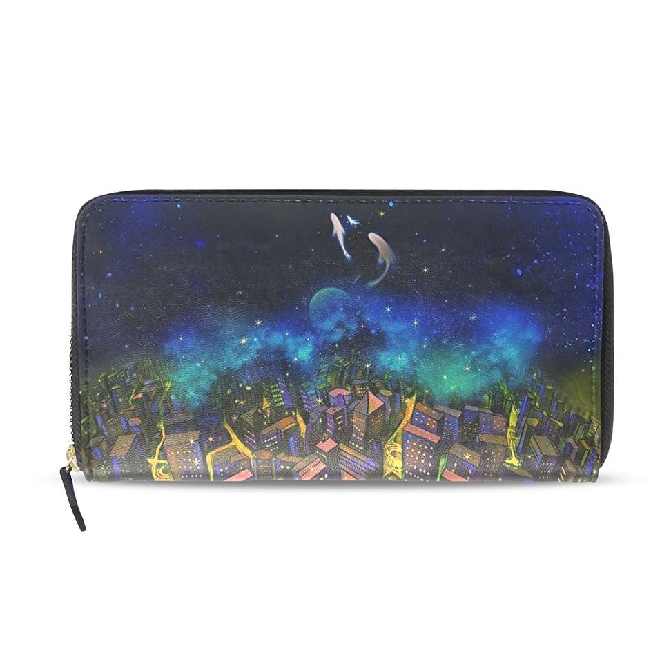 シロクマ現実的モロニックAOMOKI 財布 レディース 長財布 大容量 PUレザー 幅20*丈11cm 鯨 町 夜
