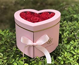 JDCMYK Hreat Shape Box PVC Transparent Cover Florist Packing Flower Box, Wedding Party Decoration Not Include Flower (Pink)