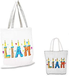 canvas messenger bag Liam English First Name in a Colorful Letter Style Cake Design with Bite Marks and Candles Multicolor canvas tote bag with pockets