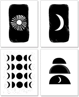 XGXL Sun and Moon Canvas Wall Art - 4 Pieces Unframed Black and White Sun and Moon Modern Art Print Artwork for Home Decor...