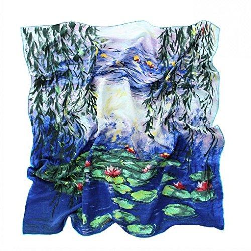 prettystern Damen Handrolliert Seidentuch 90 Cm Kunstmotiv Seerosen Blau-türkis Tuch Monet 100% Seide P050