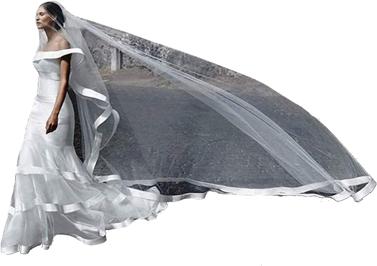 Newdeve Wedding Veils 2 Tiers Cathedral Length Ribbon Edge Blusher with Comb