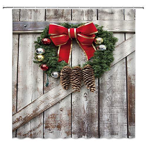 Rustikaler Weihnachts-Duschvorhang aus Holz, Scheunentür des Bauernhauses mit Weihnachtsgirlande aus Kiefernholz, Retro-Stil, Westernhof, Badezimmerdekoration, 177 x 177 cm mit Haken