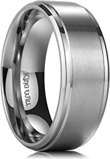 King Will Basic 4mm 6mm 7mm 8mm 9mm Mens Titanium Wedding Ring Brushed Finished Wedding Band Comfort Fit Stepped Edge