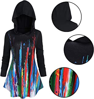 Fashion Women Christmas Hat Long Sleeve Splatter Paint A Line Pullover Hoodie Jacket Coat T Shirts
