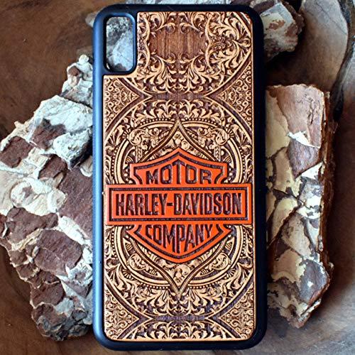 Custodia in legno per iPhone 11 Pro Max/XR/XS Max/X / 8/7 Plus, Samsung Galaxy Note 9/10 / S9 / S10 / S20 Ultra Cover rigida - Protezione per cellulare Case Design legno di ciliegio Harley Davidson
