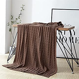 NUVOLE Cozy Knitted Throw Blanket, 100% Cotton Cable Knit Blanket Throw for Home Decorative, Sofa,Couch,Travel,Picnic Blanket, Brown