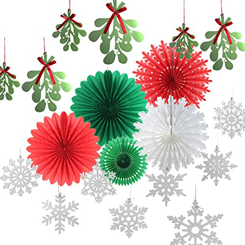 SUNBEAUTY Christmas Tissue Paper Fans Snowflake Red White Green Hanging Paper Fans Winter Xmas Party Supplies Photo Backdrop Retro Decorations 14pcs