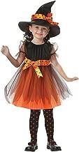 K-youth Disfraz Bruja de Halloween para Niñas Cosplay Niña Halloween Vestidos y Sombrero Bruja