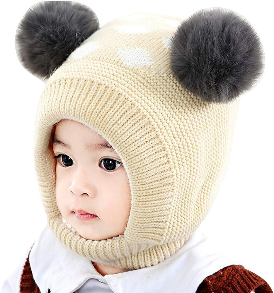 IMLECK Baby Cute Double Ball Portland Mall Kansas City Mall Bear Warm Winter Earflap Scarf Hat