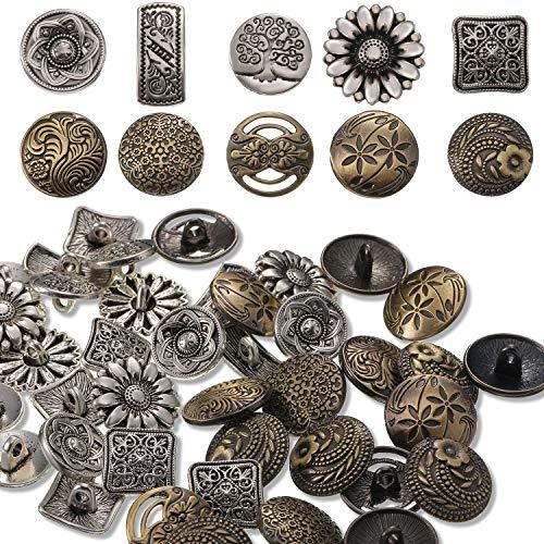 80 Piezas Botones de Metal de Color Plata y Bronce Antiguo para Decoraciones Manualidades de Costura, Botones Redondos de Flores de Estilo Vintage Mixto
