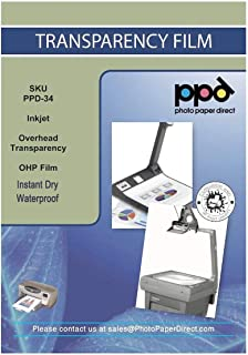 """PPD Premium Inkjet Transparency Film (Overhead Projector Film) 150 Micron Thick 8.5x11"""" X 50 Sheets - Instant Dry PPD-34-50"""