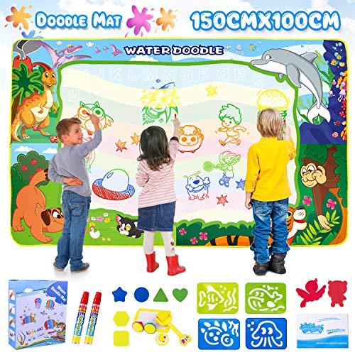 GVOO Wasser Doodle Matte,Wasser Zeichnen Matte für kreative Kinder 150X100cm Abwaschbare Schreibmatte inkl.6 Zauberstifte,8 Stempel,4 Formen und 1 Zeichenheft für Jungen und Mädchen.