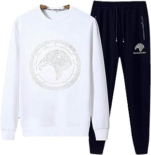 لباس رياضي رجالي من قطعتين لباس رياضة للركض وبناطيل رياضية برقبة دائرية وسروال كاجوال للركض (اللون: أبيض، المقاس: XL)