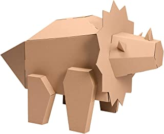 iBonny Cardboard Dinosaur Coloring Playhouse Triceratops 3D Model Pretend Play Toy Eco-Friendly Playhouse for Kids
