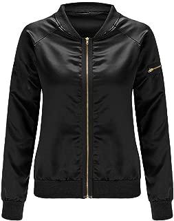 Enggras Women's Classic Fall Zip Up Satin Drill Stand Collar Short Biker Bomber Jacket Coat w/Pocket
