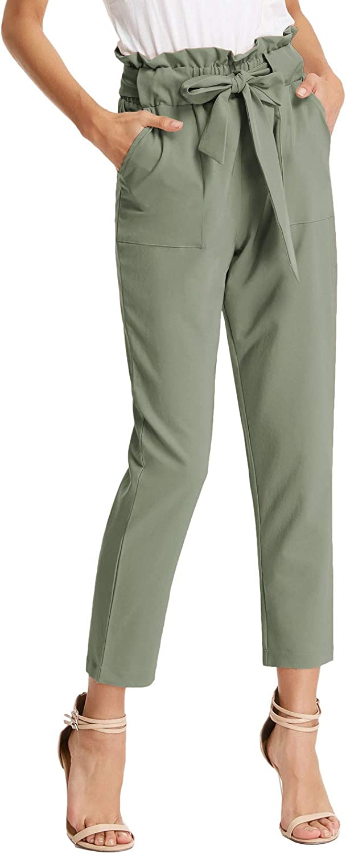 GRACE KARIN Women's Paper Bag Waist Pants Slim Fit Casual Office Pencil Pants