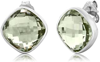 Gem Stone King 925 Sterling Silver Green Amethyst Stud Earrings For Women (12.00 Cttw, Cushion Cut 12MM)