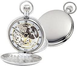 Woodford Mens Albert Double Full Hunter Swiss Skeleton Pocket Watch - Silver
