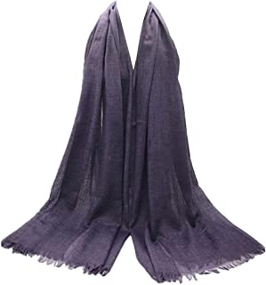 ACVIP Women's Cotton Lightweight Thin Solid Scarf Headwrap Hijab Pashmina Stole
