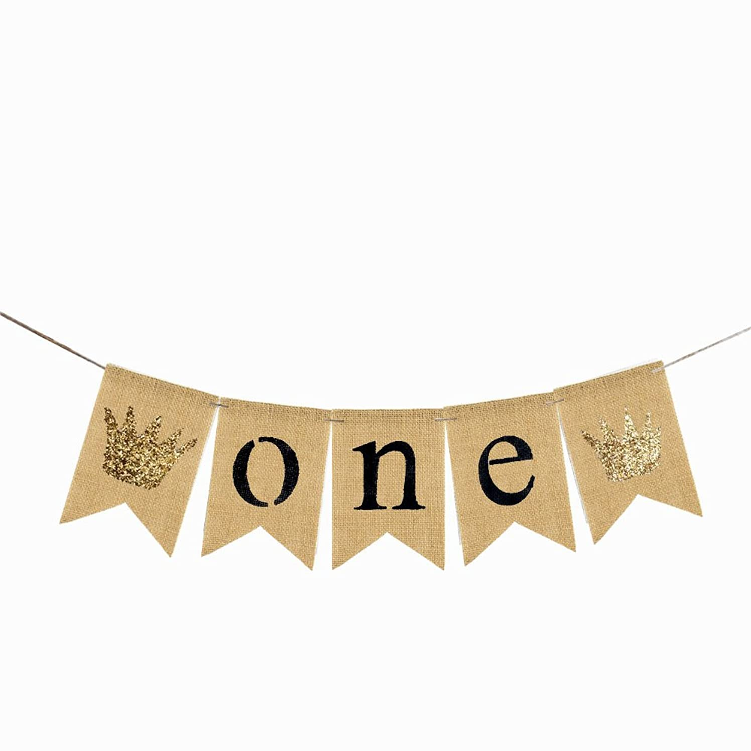 Burlap One Banner Glitter Crown Baby Girl Boy First Birthday Party Decoration