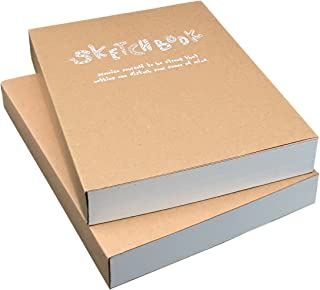 Kraft Cover Drawing Notebook & Sketchbook – Set of 2 Blank Plain Sketch Books – 125g Thick Paper A5 Size, 150x210mm Paper Ideal for Drawing & Sketching- 128 sheets/256 pages – 180 Degree Opening, 2pcs