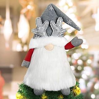 Gnome Christmas Tree Topper, Large Santa Gnome Tree Topper Swedish Tomte Gnome Christmas Ornaments Plush Scandinavian Christmas Decorations Holiday Home Decor - Grey…