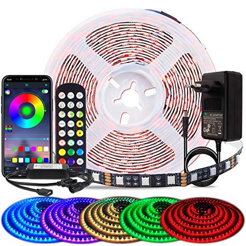 BIHRTC LED Strip 5050 SMD 5m 16.4ft RGB LED Streifen 300 LED Band Leiste APP Steuerung und Fernbedienung Musikalische Funktion für TV, Wohnzimmer, Party, Schlafzimmer, Hochzeit, Bardekoration