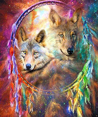 Adulto 5D Diamond Painting By Digital Painting Kit DIY Pintura al óleo Artesanías artísticas adecuadas para la decoración de la pared del hogar Campanas de viento de colores Wolf 35x40cm