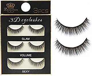 Electomania 3 Pairs Black Handmade Natural 3D Thick Long False Eyelashes
