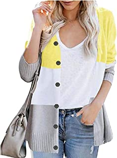 Women's Striped Long Sleeve Color Block Button Open Front Knit Cardigan Sweater Outerwears
