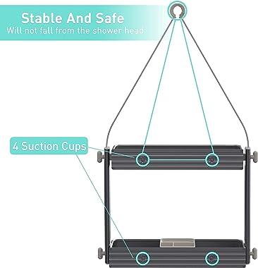 SINOART Hanging Shower Caddy-Over Shower Head Bathroom Storage Organizer Shelf -Adjustable Height Shower Head Rack,Extra Wide