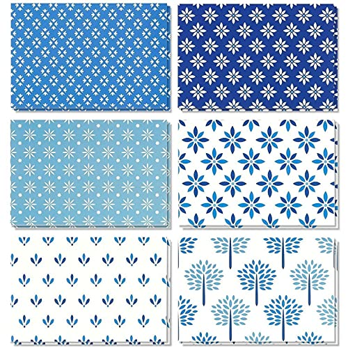 48 Pack Blank Greeting Note Card Bulk, Shades of Blue Floral Foliage, Envelopes Included, 4x6