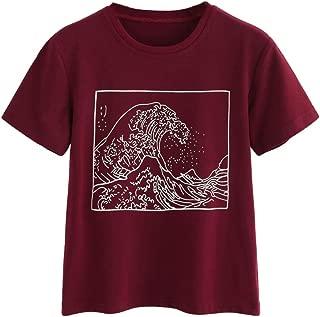 Women's Short Sleeve Top Casual The Great Wave Off Kanagawa Graphic Print Tee Shirt