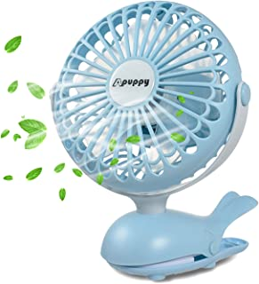 APUPPY Battery Operated Clip Fan, Portable Battery Powered Quiet Desk Fan with 5 Blades Cute Whale Design for Baby Stroller Office Trave (Blue,6inch)