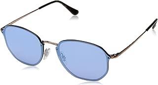 Ray-Ban RB3579N Blaze Hexagonal Sunglasses, Copper/Dark Violet Silver Mirror, 58 mm