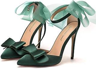 Women's Court Shoes,High Heels Bridal Shoes,11cm Temperament sexy Satin Stiletto Heel Pumps Wedding shoes Mary Jane Pumps,Clubbing Evening Wedding Party Dress Bridesmaid shoes,Green,38 EU