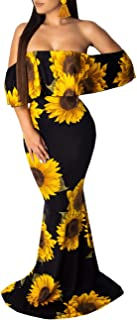 Women's Off Shoulder Maxi Dress Sexy Hawaiian Floral Long Party Dresses