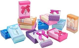 NBEADS 24 Cajas de Regalo de cartón con Lazo para Colgante, con Almohadillas de Esponja, Color Mezclado, 8 x 5 x 3 cm