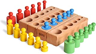 BOHS (Shrunk Down Version) 6 Knobs Miniature Montessori Knobbed Cylinder - Colorful Wooden Early Home School Toy - 4pcs/Set,6.7 Inches | Ages 2.5 Years and Up