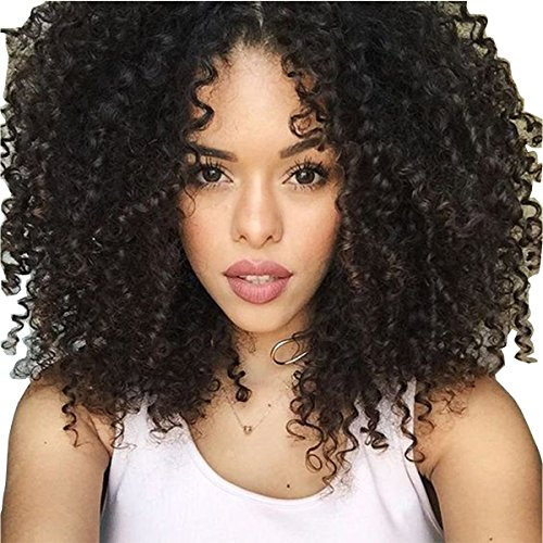 Maycaur Black Color Synthetic Wigs 180 Density Natural Hair Kinky Curly Wigs 14 Inch