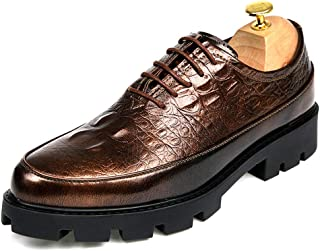 Sygjal Men's business Oxford Casual Fashion Crocodile Polyurethane Outsole Patent Leather Formal Shoes (Color : Gold, Size : 38 EU)