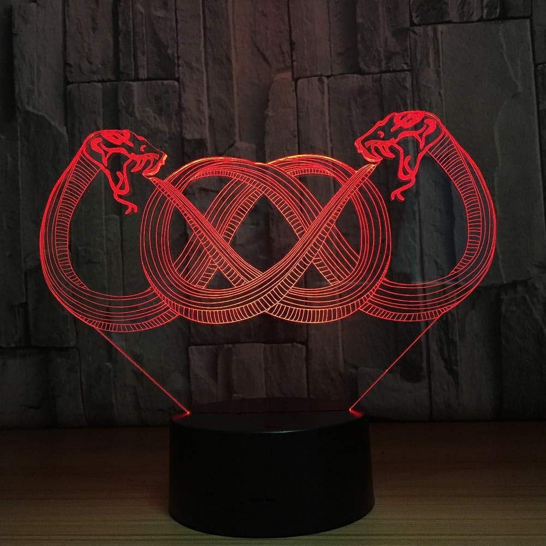 Mozhate 3D Led Neue Interessante Acryl Doppelte Schlange Modellierung Nachtlichter 7 Farbwechsel Tier USB Schlafzimmer Wohnkultur Tischlampe Geschenke,Remote und berühren