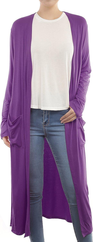 BILY Women's Side Split Open Front Light Weight Long Cardigan