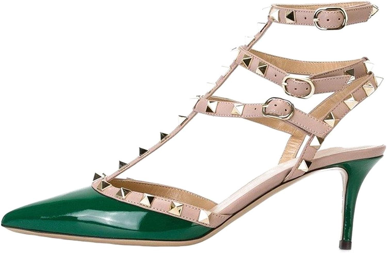 Calaier Womens Caman Pointed Toe 6.5CM Stiletto Buckle Sandals shoes