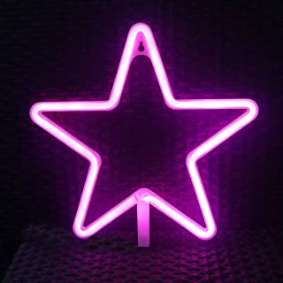 LED Neon Signs for Wall Decor,USB or Battery Operated,Night Lights Lamps Art Decor,Wall Decoration Table Lights,Decorative for Home Party Living Room (Star - Pink)